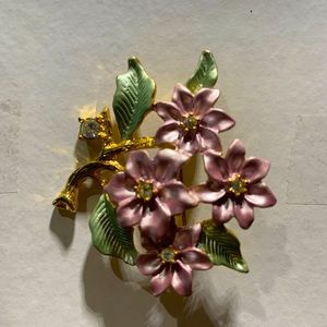Vintage Pink & Green Poinsettia Brooch Pin